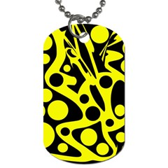 Black And Yellow Abstract Desing Dog Tag (two Sides) by Valentinaart