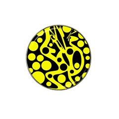 Black And Yellow Abstract Desing Hat Clip Ball Marker by Valentinaart