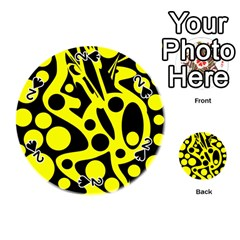 Black And Yellow Abstract Desing Playing Cards 54 (round)  by Valentinaart