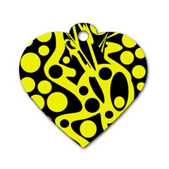 Black And Yellow Abstract Desing Dog Tag Heart (one Side) by Valentinaart