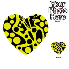 Black And Yellow Abstract Desing Multi Purpose Cards (heart)  by Valentinaart