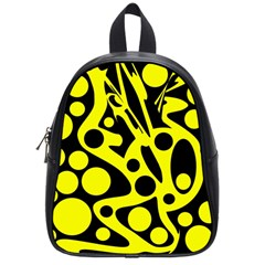 Black And Yellow Abstract Desing School Bags (small)