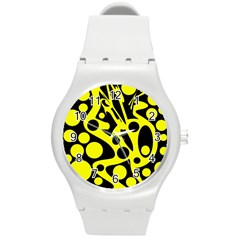 Black And Yellow Abstract Desing Round Plastic Sport Watch (m) by Valentinaart