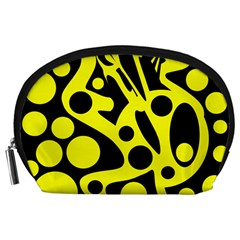 Black And Yellow Abstract Desing Accessory Pouches (large)