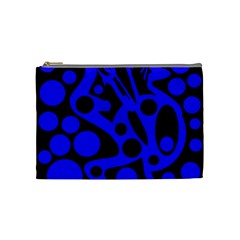 Blue And Black Abstract Decor Cosmetic Bag (medium)  by Valentinaart