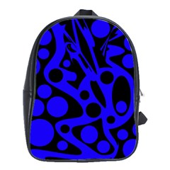 Blue And Black Abstract Decor School Bags(large)  by Valentinaart