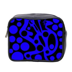Blue And Black Abstract Decor Mini Toiletries Bag 2 Side
