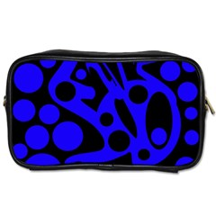 Blue And Black Abstract Decor Toiletries Bags 2 Side by Valentinaart