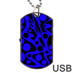 Blue And Black Abstract Decor Dog Tag Usb Flash (two Sides)  by Valentinaart
