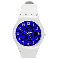 Blue And Black Abstract Decor Round Plastic Sport Watch (m) by Valentinaart