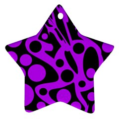 Purple And Black Abstract Decor Ornament (star)  by Valentinaart