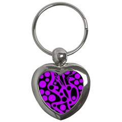 Purple And Black Abstract Decor Key Chains (heart)  by Valentinaart