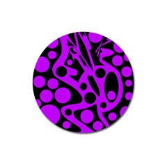Purple And Black Abstract Decor Magnet 3  (round) by Valentinaart