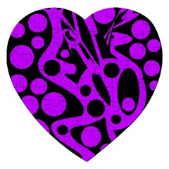 Purple And Black Abstract Decor Jigsaw Puzzle (heart) by Valentinaart