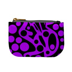 Purple And Black Abstract Decor Mini Coin Purses by Valentinaart
