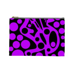 Purple And Black Abstract Decor Cosmetic Bag (large)  by Valentinaart