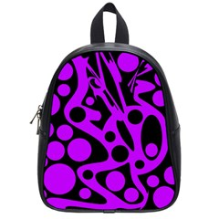 Purple And Black Abstract Decor School Bags (small)  by Valentinaart