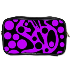 Purple And Black Abstract Decor Toiletries Bags 2 Side by Valentinaart