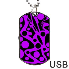 Purple And Black Abstract Decor Dog Tag Usb Flash (two Sides)  by Valentinaart