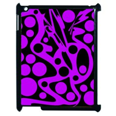 Purple And Black Abstract Decor Apple Ipad 2 Case (black) by Valentinaart