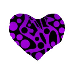 Purple And Black Abstract Decor Standard 16  Premium Heart Shape Cushions by Valentinaart