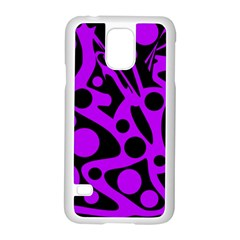 Purple And Black Abstract Decor Samsung Galaxy S5 Case (white) by Valentinaart