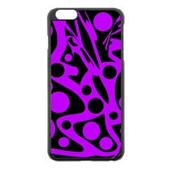 Purple And Black Abstract Decor Apple Iphone 6 Plus/6s Plus Black Enamel Case by Valentinaart
