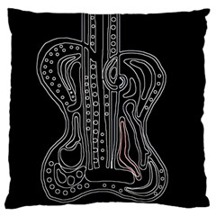 Decorative Guitar Large Flano Cushion Case (one Side) by Valentinaart