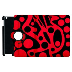 Red And Black Abstract Decor Apple Ipad 3/4 Flip 360 Case by Valentinaart