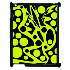 Green And Black Abstract Art Apple Ipad 2 Case (black) by Valentinaart