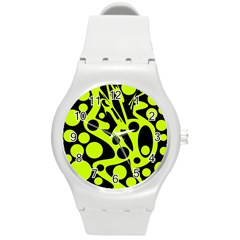 Green And Black Abstract Art Round Plastic Sport Watch (m) by Valentinaart