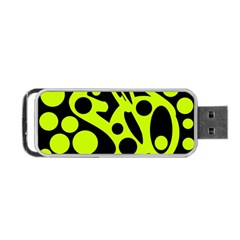 Green And Black Abstract Art Portable Usb Flash (two Sides) by Valentinaart