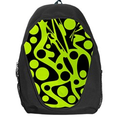 Green And Black Abstract Art Backpack Bag by Valentinaart