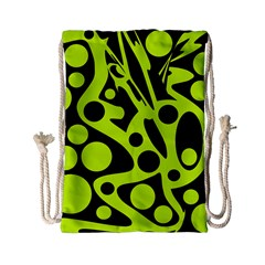 Green And Black Abstract Art Drawstring Bag (small) by Valentinaart