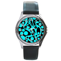 Cyan And Black Abstract Decor Round Metal Watch by Valentinaart