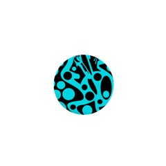 Cyan And Black Abstract Decor 1  Mini Buttons by Valentinaart