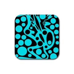 Cyan And Black Abstract Decor Rubber Square Coaster (4 Pack)  by Valentinaart