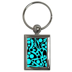 Cyan And Black Abstract Decor Key Chains (rectangle)  by Valentinaart