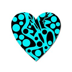 Cyan And Black Abstract Decor Heart Magnet by Valentinaart