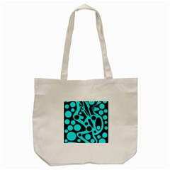 Cyan And Black Abstract Decor Tote Bag (cream) by Valentinaart
