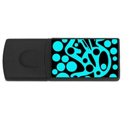 Cyan And Black Abstract Decor Usb Flash Drive Rectangular (4 Gb)  by Valentinaart