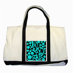 Cyan And Black Abstract Decor Two Tone Tote Bag by Valentinaart