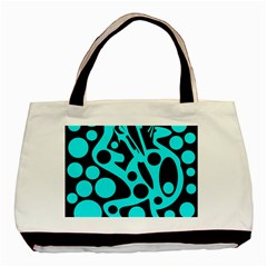 Cyan And Black Abstract Decor Basic Tote Bag (two Sides) by Valentinaart