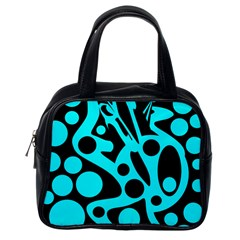 Cyan And Black Abstract Decor Classic Handbags (one Side) by Valentinaart