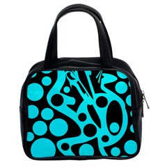 Cyan And Black Abstract Decor Classic Handbags (2 Sides) by Valentinaart