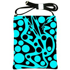 Cyan And Black Abstract Decor Shoulder Sling Bags by Valentinaart