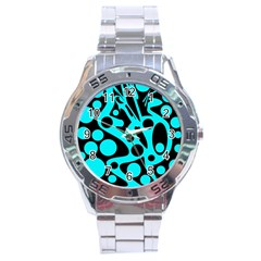 Cyan And Black Abstract Decor Stainless Steel Analogue Watch