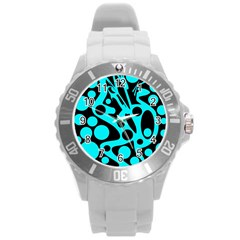 Cyan And Black Abstract Decor Round Plastic Sport Watch (l) by Valentinaart