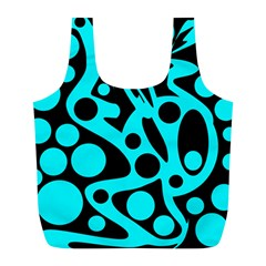 Cyan And Black Abstract Decor Full Print Recycle Bags (l)  by Valentinaart