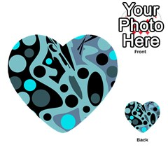 Cyan Blue Abstract Art Multi Purpose Cards (heart)  by Valentinaart